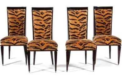 A Set of Four Art Deco Style Black Lacquer Dining Chairs