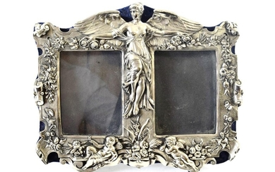A Silvered Metal Double Photograph-Frame, Apparently Unmarked, 20th century, oblong,...