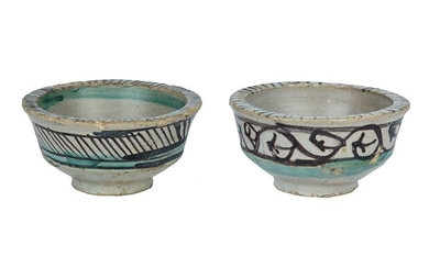Two Bowls Two bowls with flat brim, wall with fairing,...