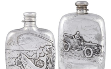 Two sterling silver flasks R. Wallace & Co., Wallingford,...