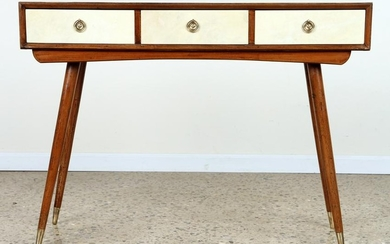 WOOD AND PARCHMENT ITALIAN CONSOLE TABLE C.1950