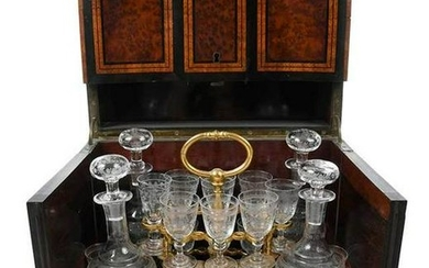 French Burl Wood Tantalus with Cordial Set
