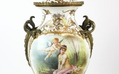 Large 19th C. French Sevres Porcelain & Bronze Vase w/