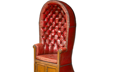A Victorian Leather Upholstered Mahogany Porter's Chair