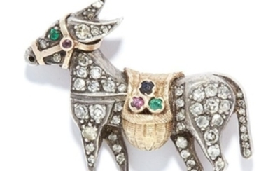 ANTIQUE GEMSET DONKEY BROOCH in yellow gold and silver,