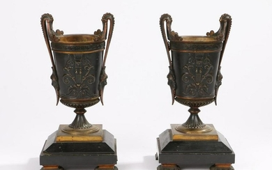Pair of 19th Century French bronze garnitures, the