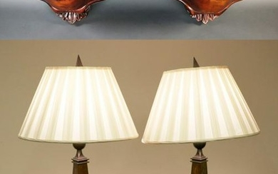 Carved Wood Wall Shelves and Modernist Lamps
