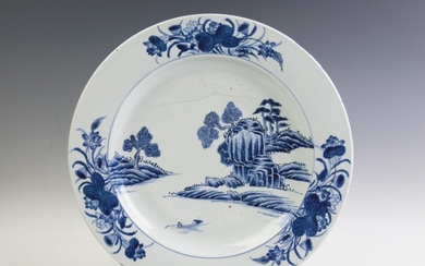 A large 18th century Chinese blue and white charger, central...