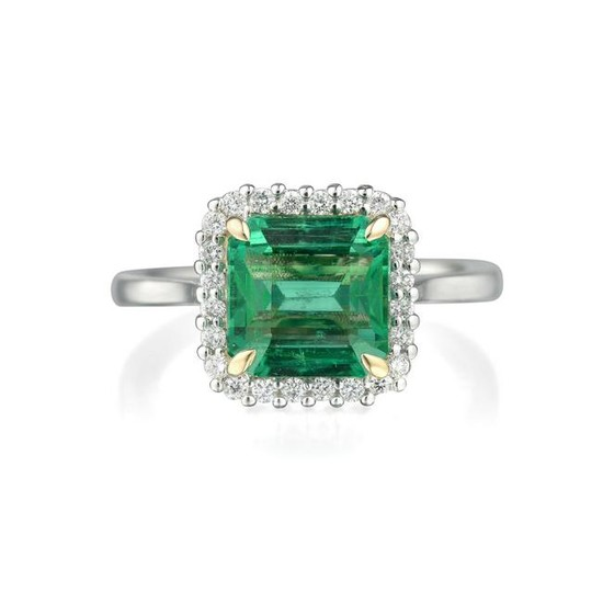 A 2.33-Carat Zambian Emerald and Diamond Ring