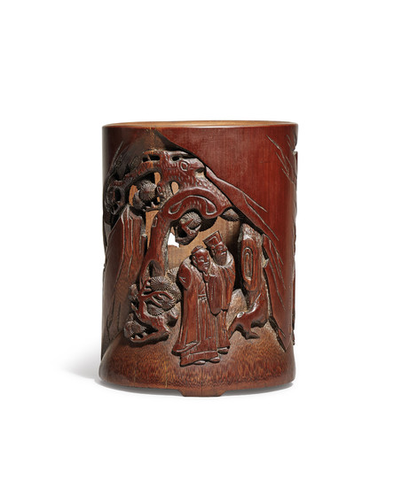 A PIERCED BAMBOO 'SCHOLARS UNDER PINE' BRUSHPOT, LATE MING-EARLY QING DYNASTY, 17TH CENTURY