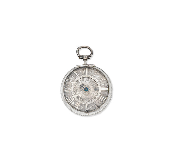 Nourry A Lyon. A silver keyless wind hour-striking pair case clock watch with alarm