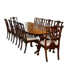 Surprising Lot Art Stickley Mahogany Dining Table And Ten Chippendale Lamtechconsult Wood Chair Design Ideas Lamtechconsultcom