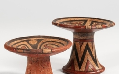Two Cocle Polychrome Pedestal Plates