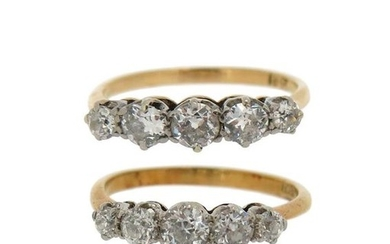 Two diamond five-stone rings, each set with old...