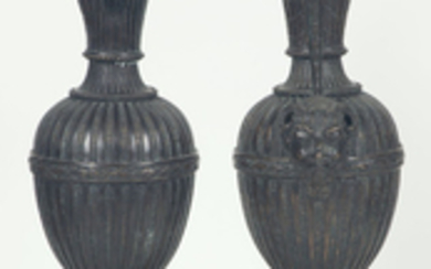 Pair of Neoclassical Style Gilt and Patinated Bronze Ewers on Pedestals