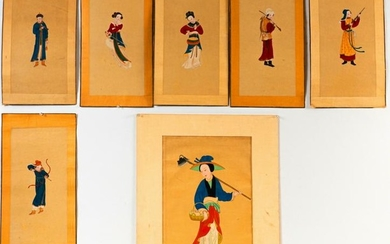 Set of Seven Chinese watercolor paintings