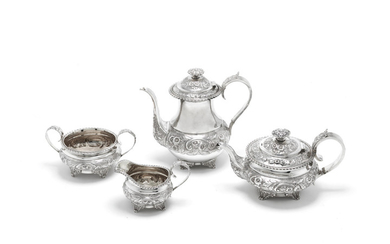A matched George IV and Victorian silver tea and coffee service