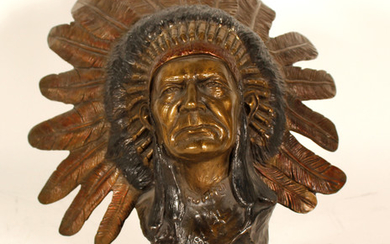 Bronze Bust of Native American Chief 101079