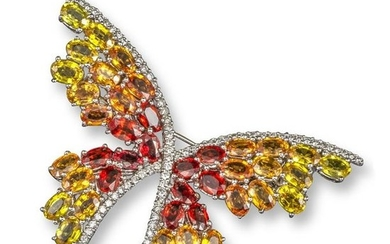 A vari coloured sapphire and diamond butterfly bro…
