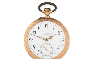A 14K gold keyless wind open face pocket watch