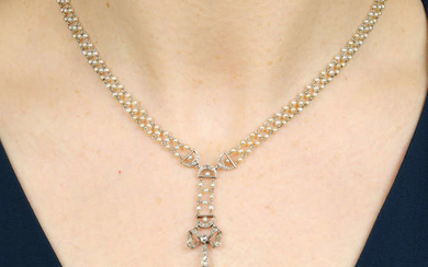 An early 20th century natural pearl, seed pearl and diamond sautoir.