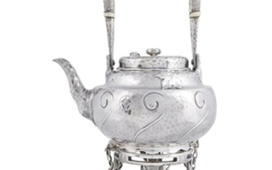 Hammered sterling silver Japanese-style hot water kettle-on-stand Tiffany &...