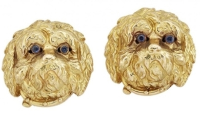 A pair of novelty dogs head earrings,...