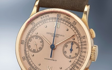 Patek Philippe, Ref. 533 A highly rare and exceptionally well-preserved pink gold chronograph wristwatch