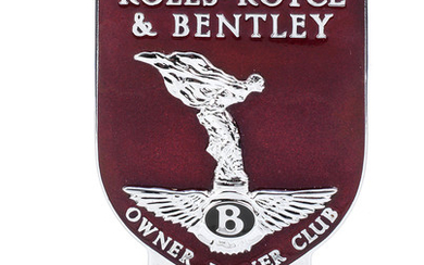 A 'Rolls-Royce & Bentley Owner Driver Club' enamelled car badge,