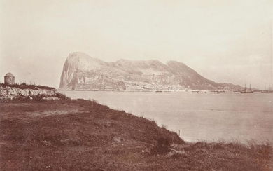 A set of three commercial sepia photographs of Gibraltar