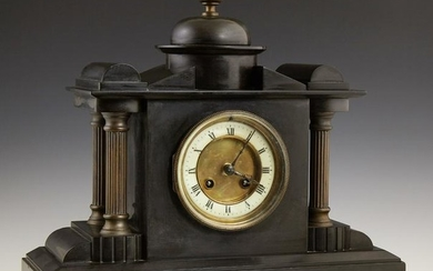 French Black Slate Mantel Clock, 19th c., by Japy