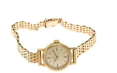 Omega: A lady's wristwatch of 14k gold, ref. BD 511.122. Mechanical movement with manual winding. 1967.