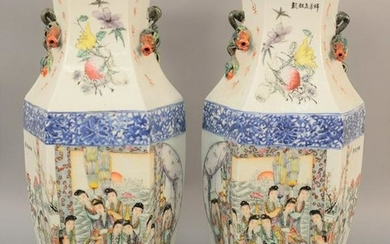 Pair of Chinese Famille Rose six sided vases, having