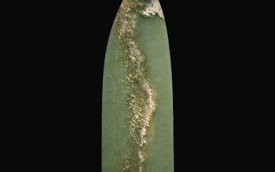 AN EXCEPTIONAL AND RARE ARCHAIC GREEN JADE CEREMONIAL BLADE (GE) SHANG DYNASTY