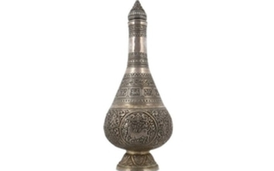 A SILVER THAI BOTTLE Thailand, late 19th century Of