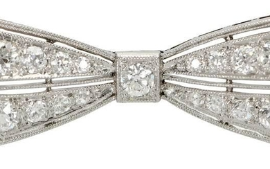 Antique Platinum and Diamond Bow Brooch