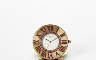 CARTIER Metal travel clock 1980s Dial, movement and case...