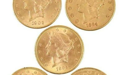 Five Liberty Head Gold Double Eagles