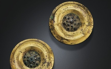 A PAIR OF GOLD, GLASS AND BRONZE PLAQUES, LATE WARRING STATES PERIOD-HAN DYNASTY, 3RD-2ND CENTURY BC