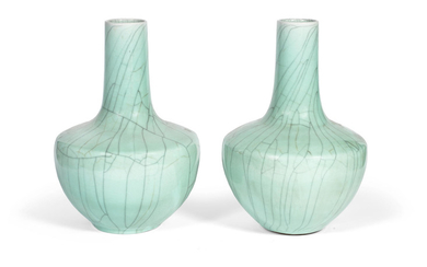 A large pair of Ge-type bottle vases