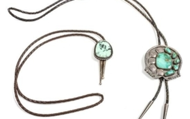 Two Southwestern Silver and Turquoise Bolos