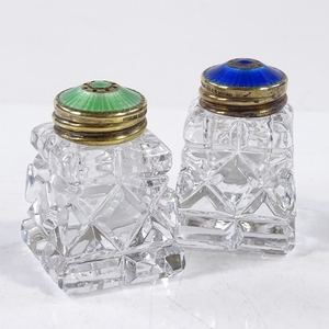 A pair of Norwegian sterling silver gilt and coloured enamel...