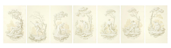 A part set of seven mid 20th century French hand blocked 'en grisaille' wallpaper panels depicting the months of the year