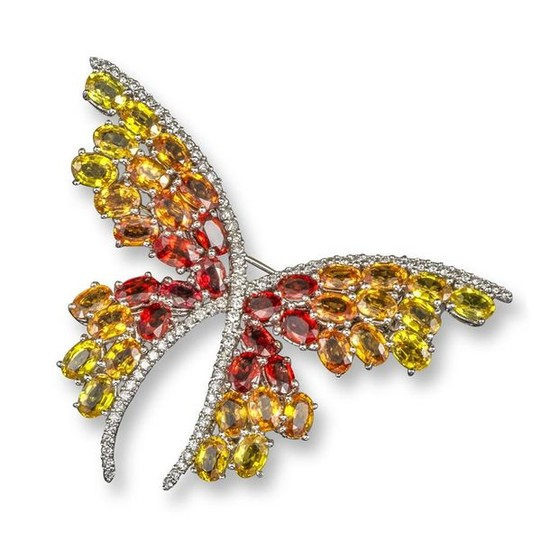 A vari-coloured sapphire and diamond butterfly brooch, formed...