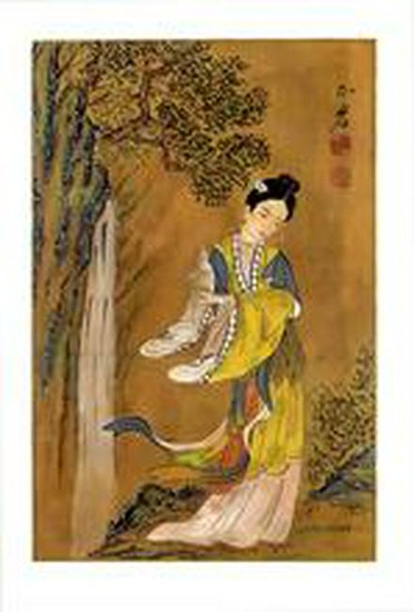 Chinese painting, 20th cent., tempera u. ink on silk,