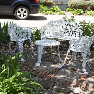 Vintage White Cast Iron Chairs Table