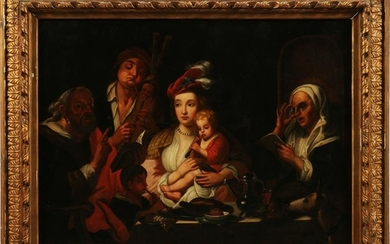 """OLD MASTER STYLE OIL ON CANVAS, H 32"""", W 45"""""""