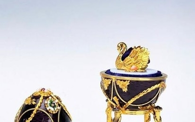 FABERGE 100TH ANNIVERSARY SILVER ENAMEL EGG