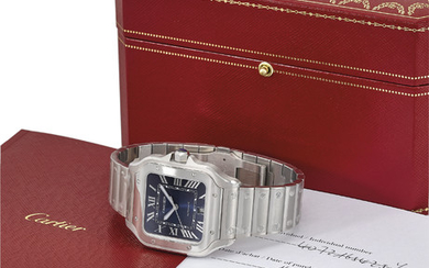 CARTIER. A LARGE STAINLESS STEEL AUTOMATIC WRISTWATCH, WITH SWEEP CENTRE SECONDS, DATE, BRACELET, BLUE DEGARDE DIAL, ORIGINAL GUARANTEE AND BOX, SIGNED CARTIER, AUTOMATIC, SANTOS MODEL, REF. 4072, CASE NO. 165425XY, CIRCA 2019