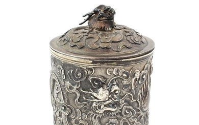 A Chinese Export Silver Canister, maker's mark SS, possibly for...